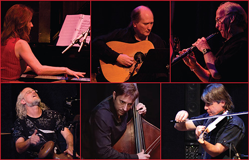 Photo of Mariah Parker (piano, santur), Matthew Montfort (scalloped fretboard guitar), Ian Dogole (percussion), Sascha Jacobson (upright bass), and Jim Hurley (violin)
